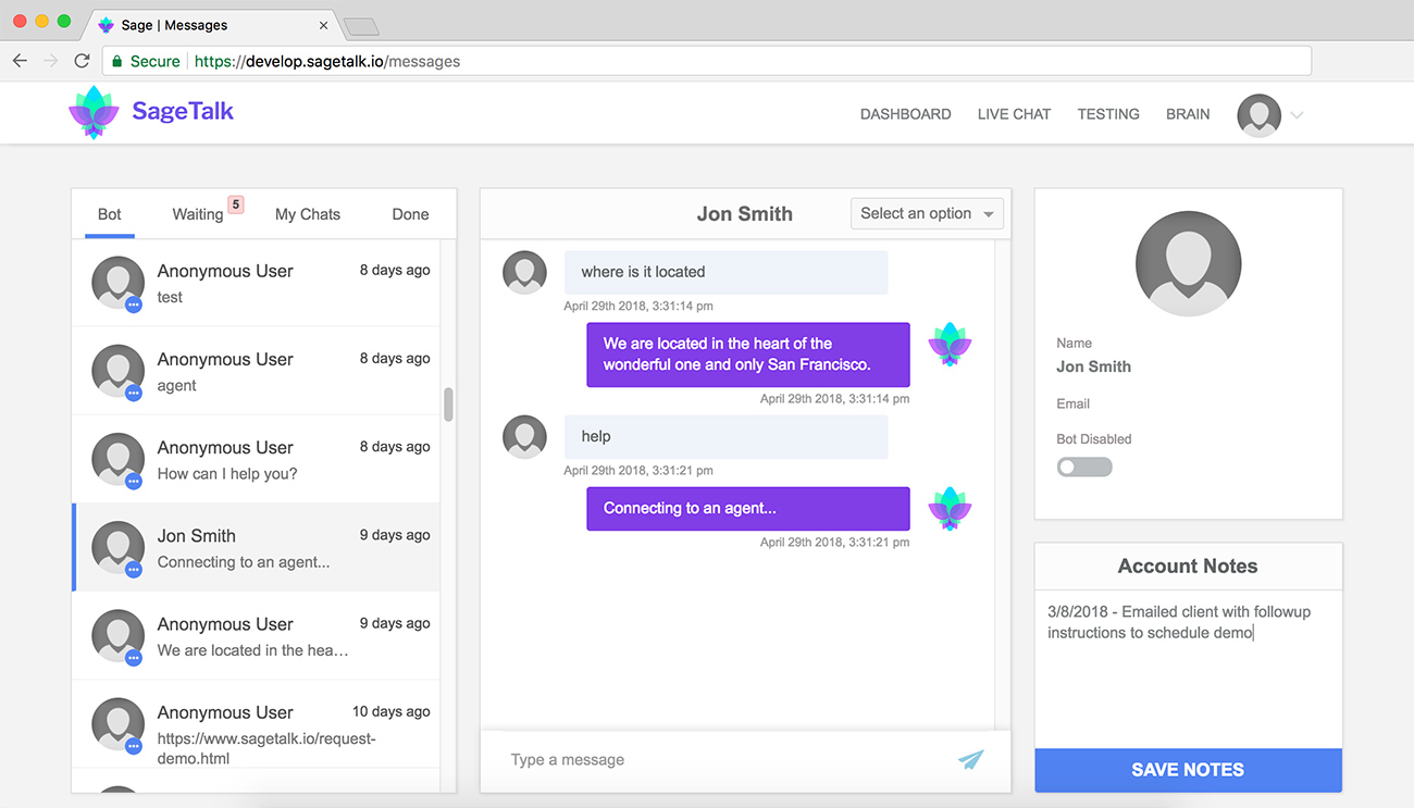screenshot of working of live chat